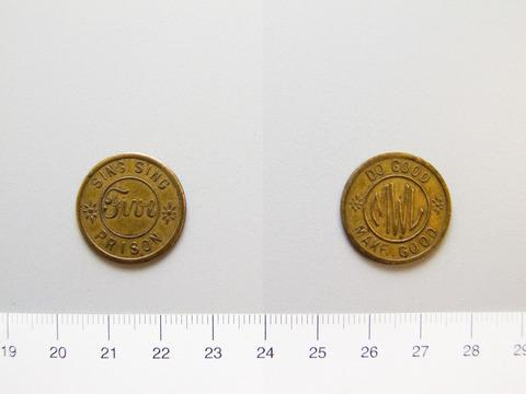 Bronze token of Sing Sing Prison, Five. 1916. Yale University Art Gallery