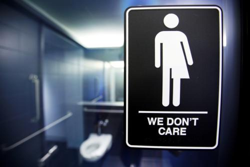A sign protests H.B. 2, a North Carolina law governing which restrooms transgender people can use